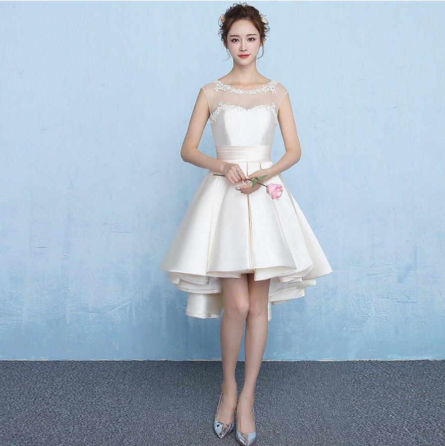 Vestidos De Boda Invitada NEW Lace Crystal Satin Champagne Silver High Low Bridesmaid DressesTea Length Gaun Pesta Dewasa