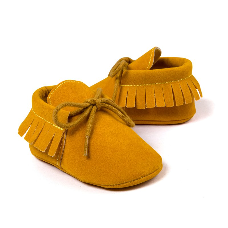 Hot 0-18M New Baby Shoes Soft Bottom Scandal Girls Boys Moccasins Tassel Lace-Up Nubuck Leather Infant Bebe New