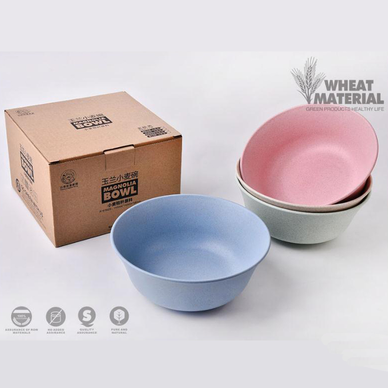 New Round Wheat Straw Bowl Sets Eco-friendly Tableware Salad Bowl Kitchen Children Fruit Rice Bowl Healthy 4colors