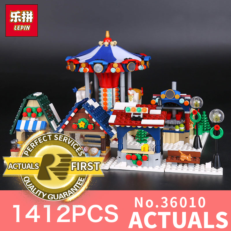Lepin 36010 1412Pcs The Winter Village Market Set for Children Educational Building Blocks Bricks Toys gifts LegoINGlys 10235 lepin 36010 genuine creative series the winter village market set legoing 10235 building blocks bricks educational toys as gift