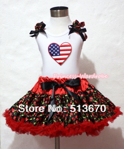 Hot Red Black Cherry Pettiskirt with Patriotic America Heart Black Cherry Ruffles Black Bow White Tank Top MAMM251 white pettiskirt with patriotic america heart white ruffles