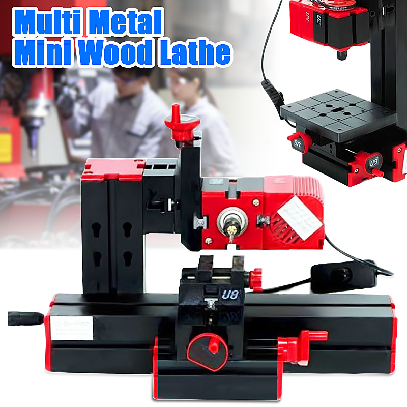DIY 6 In 1 Multi Metal Mini Wood Lathe Motorized Jig-saw Grinder Driller Milling CNC Wood Lathe Woodworking Machinery DC 12V