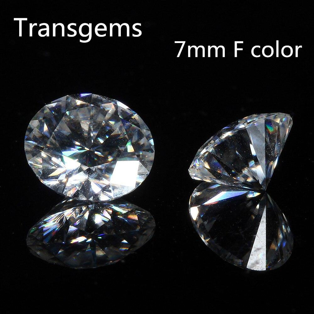 Transgemmes 1 pièce brillant 7.0mm F sans couleur cœurs et flèches coupe ronde Moissanite lâche perles de pierre pour la fabrication de bijoux