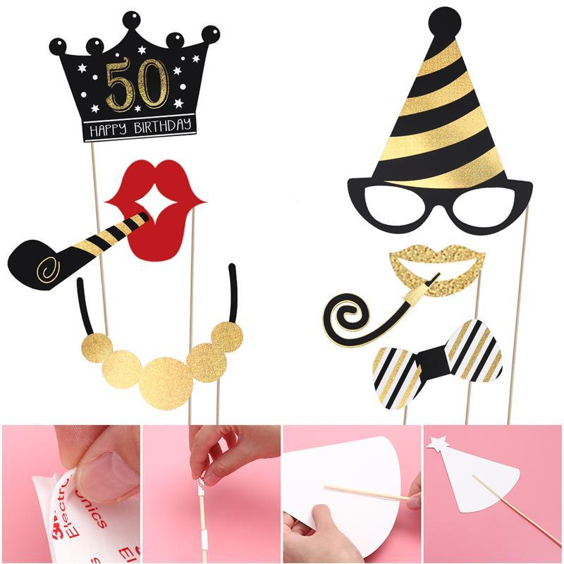 1 X Set Of BESTOYARD 44 Styles Glitter Photo Booth Props Kit For 50th Birthday Party Decoration Moustache Red Lips Bow Ties Eyeglasses Funny Images Pose