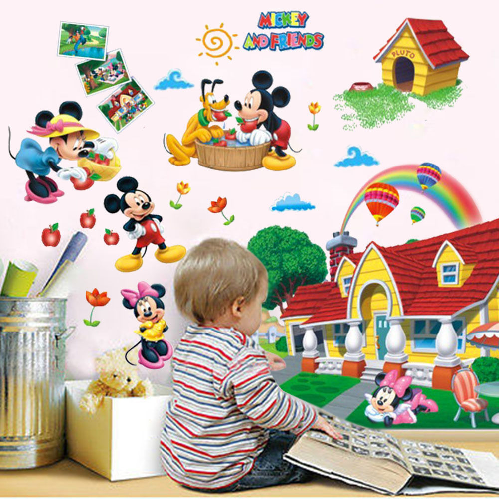 Fast Shipping Hot Sale Cartoon 3Dkids Colorful Mickey Mouse Clubhouse Wall  Sticker 3D Mural Decal Kids Baby Room Decor ASD In Wall Stickers From Home  ...