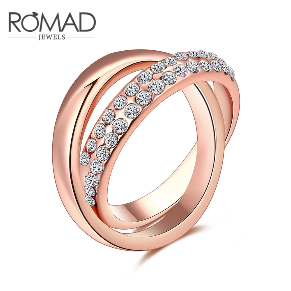 Latest Issued Finger Ring for Women Rose Gold Color Double Ring Combined Cross Ring Full Sizes with CZ Stone