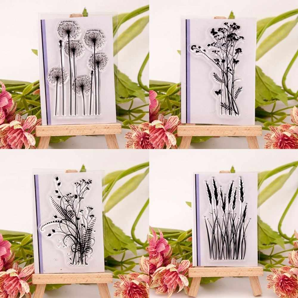 New Fashion Silicone Variou Flower&Grass Transparent Clear Rubber Stamp Sheet Cling Scrapbooking Photo Album PaperCard DIY Craft