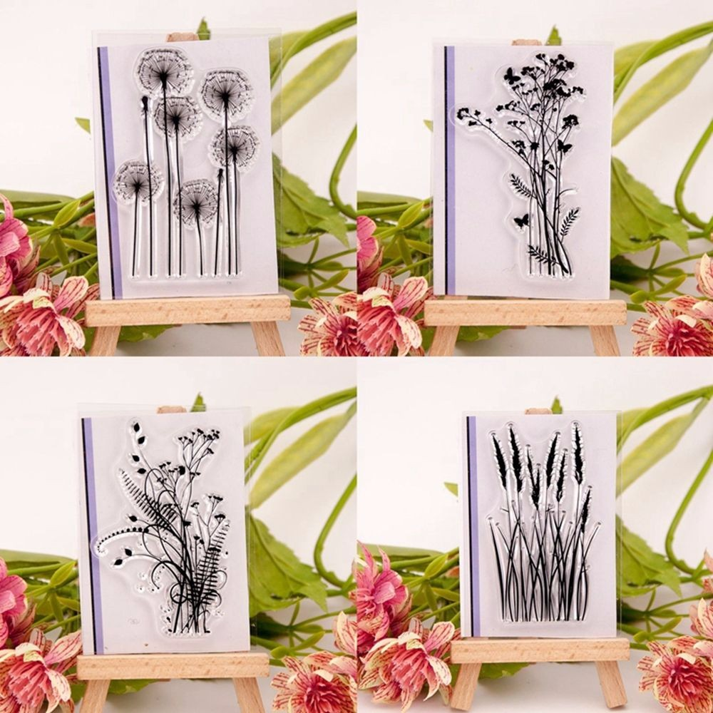1Pc Fashion Silicone Variou Flower&Grass Transparent Clear Rubber Stamp Sheet Cling Scrapbooking Photo Album PaperCard DIY Craft