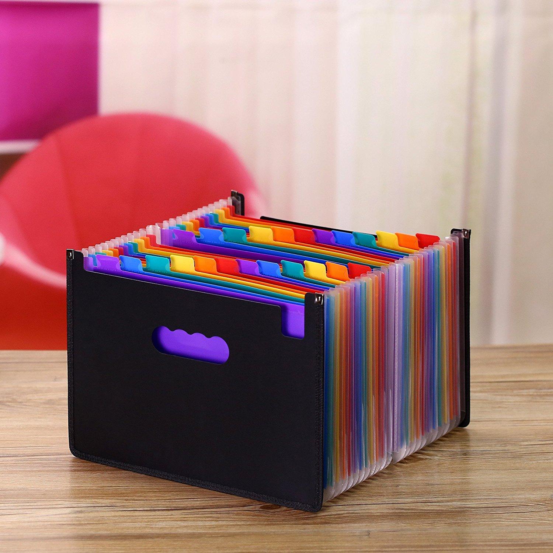 13/24/37/48 Pockets Expanding File Folder A4 Organizer Portable Business File Office Supplies Document Holder Carpeta Archivador 6
