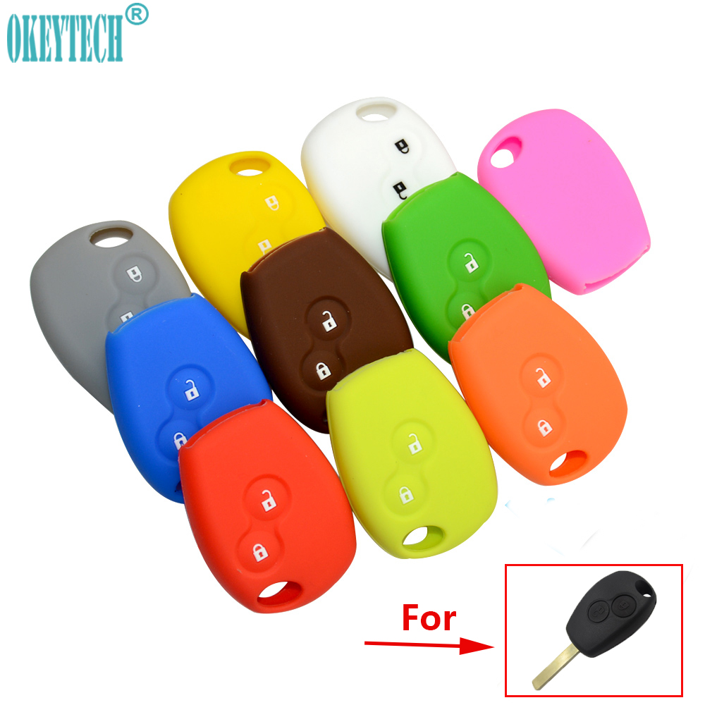 OkeyTech Silicone Car Key Cover Case for Renault Clio Scenic Megane Duster Sandero Captur Twingo Modus Car Remote Key Case Shell autewode remote key case shell cover fits for fiat 500 panda punto bravo car alarm keyless car accessories 1pc colorful