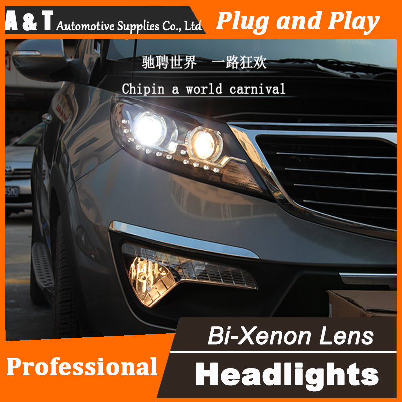 Car Styling For Kia Sportage R headlight assembly 2011-2013 Sportage Headlight 2011-2013 Angel eye led drl H7 with hid kit 2pcs. headlight for kia k2 rio 2015 including angel eye demon eye drl turn light projector lens hid high low beam assembly