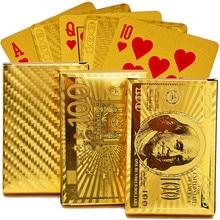все цены на EURO USD Back Golden Playing Cards Deck Plastic Gold Foil Poker Magic Card Durable Waterproof Cards Close-up Street Magic Tricks онлайн