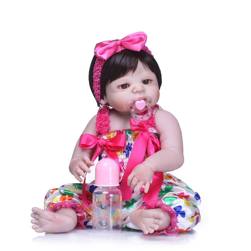 NPKCOLLECTION Lifelike Doll Reborn Full Vinyl Babies Doll For Girls 57CM Realistic Soft Alive Reborn Baby Doll For Kids Playmate цены