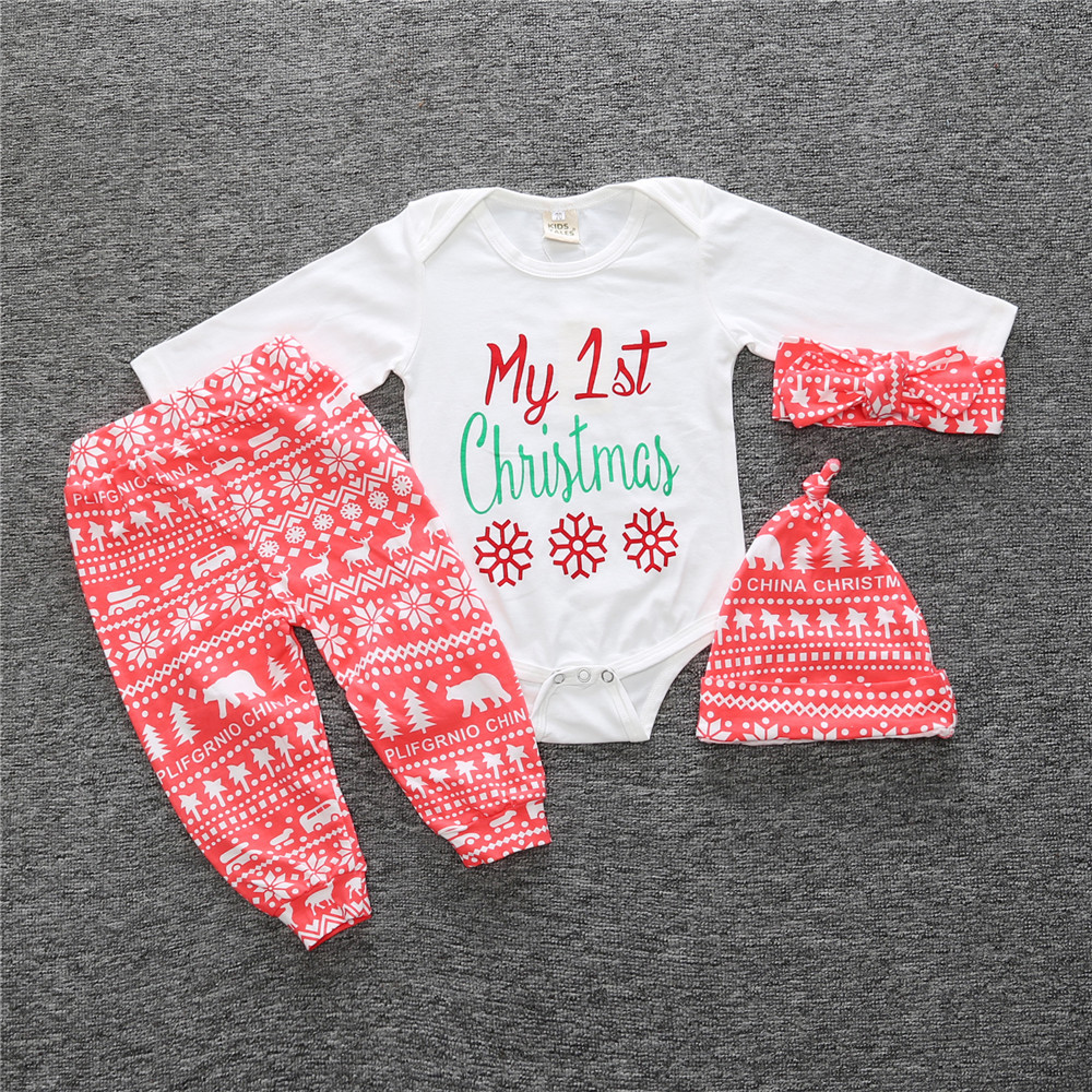 New 2018 autumn baby boy girl clothes fashion cotton long sleeved letter t-shirt+pants newborn 4pcs suit cute baby girl clothing