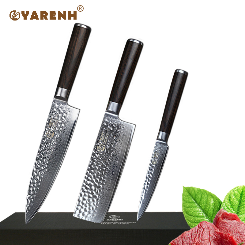 Best Paring Knife: YARENH 3 Pcs Kitchen Knife Set Damascus Steel Chef Knife