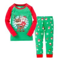 2017 Children Christmas Pajamas Set Deer Long Sleeve Tops Long Stripe Pants Baby Kids Clothing Pyjamas