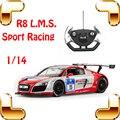 Presente de Ano novo 1/14 R8 LMS RC Deriva Carro de Corrida Esporte Veículo Fora Da Unidade de Controle Remoto Elétrico de brinquedo Divertido Para Os Meninos Presente