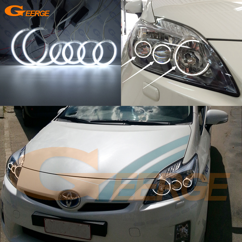 For Toyota Prius 2012 2013 2014 2015 LED XENON HEADLIGHT Excellent 6 pcs rings Ultra bright