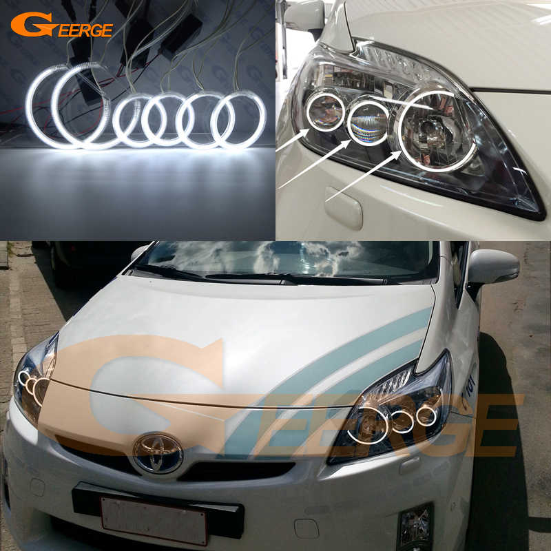 For Toyota Prius 2012 2013 2014 2015 LED XENON HEADLIGHT Excellent 6 pcs rings Ultra bright illumination CCFL angel eyes kit