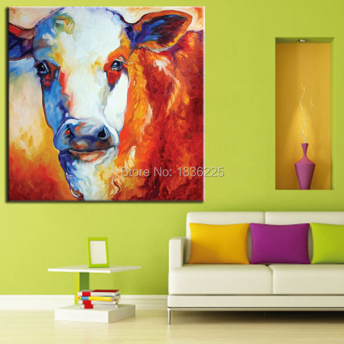 Stretched Canvas Oil Painting On Canvas Interior Decoration Animal Cattle Modern Art Paintings Decorations For Living Room