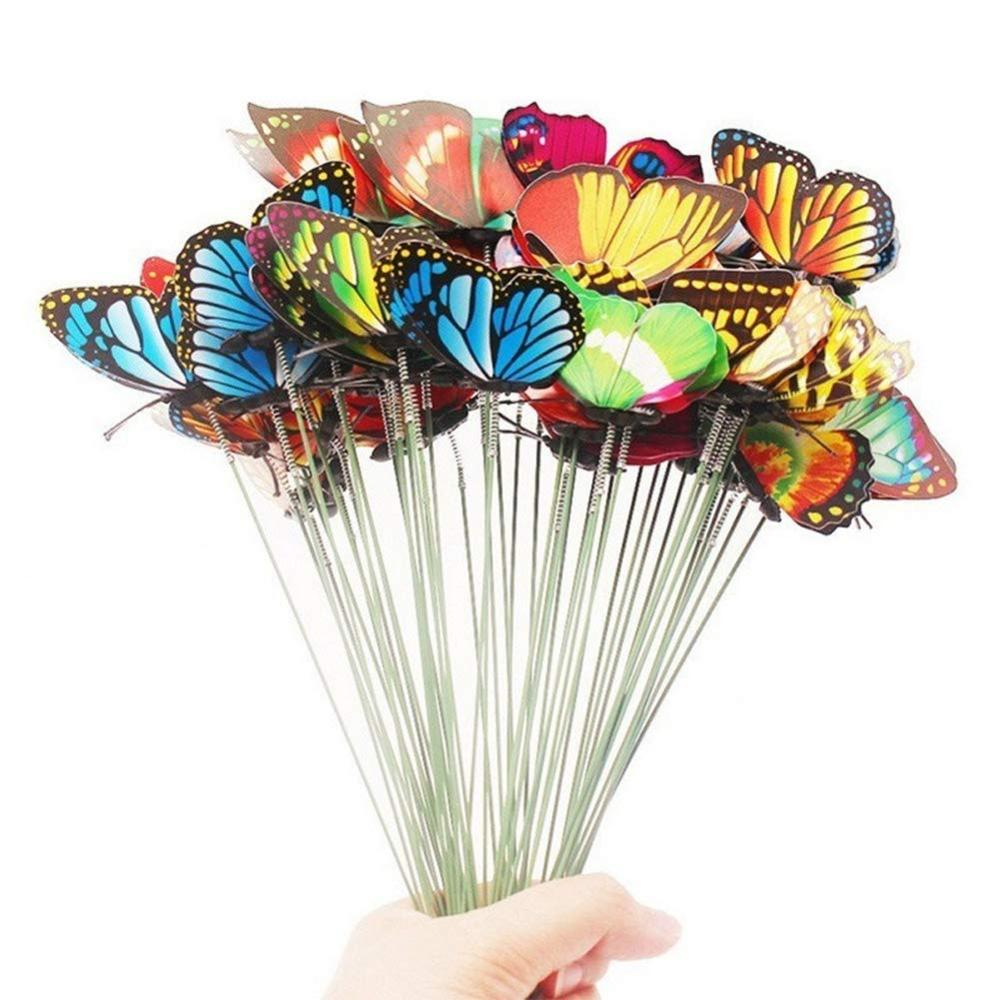 10Pcs/lot Artificial Butterfly Garden Decoration Outdoor Simulation Butterflies Stakes Yard Ornaments Plant Lawn Decor Crafts