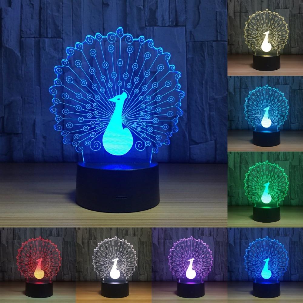 Павлин светодиодный Ночные огни атмосферу 3D ночника 7 цветов изменить светодиодный сенсорный огни для Рождественский подарок IY803219 ...