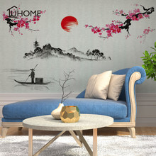 Chinese Landscape Mountain-River Ink Painting Calligraphy Wall Decal Home Wallpaper Poster Art Living Room Wall Graphic100x130cm(China)
