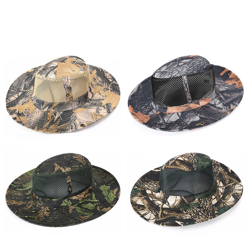 Military Tactical Boonie Hat Camouflage Bucket Hat Summer Casual Mesh Hat  Nepalese Men Hunting Hiking Fishing 0632761a9307
