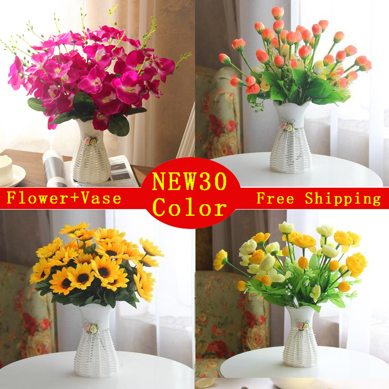 Quality plastic vase silk flowers artificial flower set for Artificial flowers decoration for home