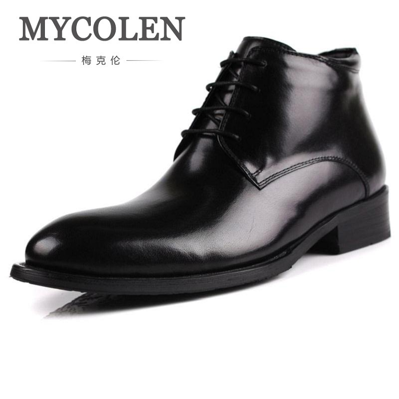 MYCOLEN Men Boots Autumn Winter Keep Warm Shoes Men Trend Handmade Leather Warm Ankle Boots Scarpe Antinfortunistica Uomo