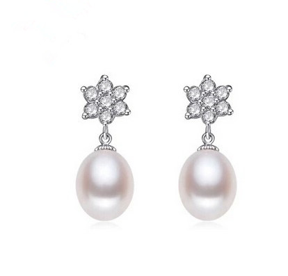 Women Gift word 925 Sterling silver real Pearl Natural Freshwater Earrings Silver