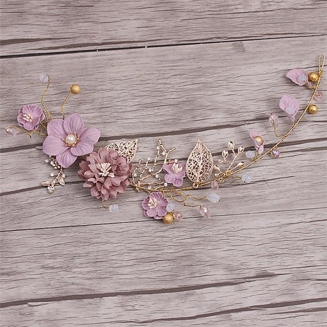 Wedding Hair Ornament Gold Purple