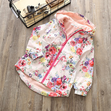 The new girl add velvet flowers hooded windbreaker Leisure waist long sleeve Rain wind specials free shipping