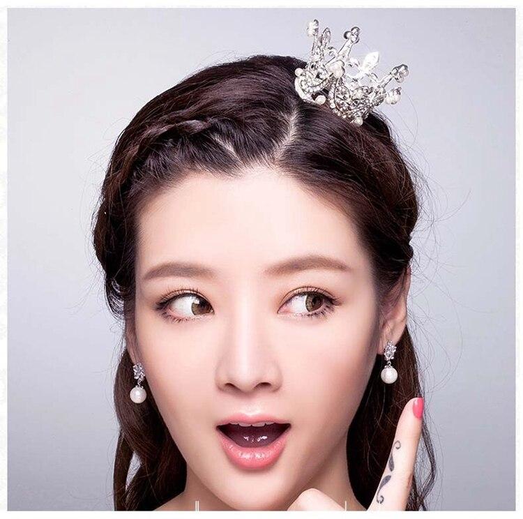 Klasické simulované perly svatební vlasy koruna diadém malý - Bižuterie