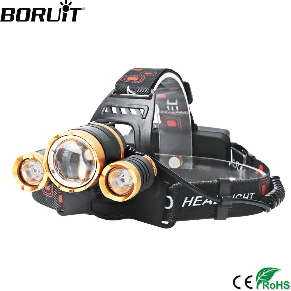 BORUiT <font><b>3000LM</b></font> XML T6 R2 LED Headlamp 4-Mode Zoomable Headlight Waterproof Flashlight Hunting Camping Head Torch by 18650 Battery image