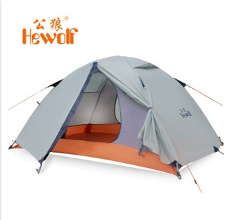 Hewolf 2Persons 4seasons double layer anti-big rain wind outdoor mountains camping tent/Couple hiking tent in good quality mobi garden outdoor camping tent 4 seasons double layer aluminum tent two rooms big camping tent super large 3 4 persons tent