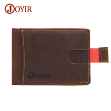 Joyir 100% Crazy Horse Genuine Leather Money Clip Wallet Purse Men Clip for Money Holder Removable Metal Clip Coins Wallets K024