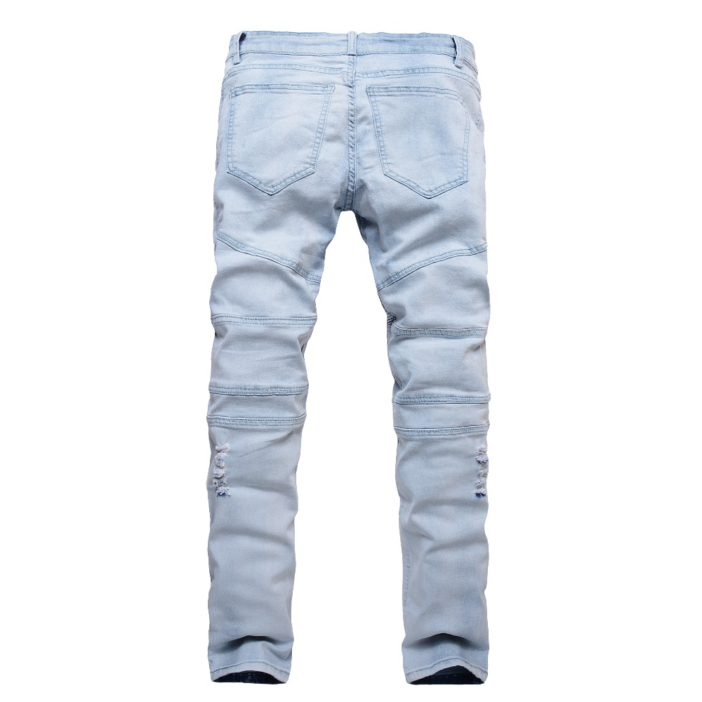 2018 New Fashion Jeans Men Blue Slim Straight Denim Ripped Jeans Classical Design Pants Mens Trousers