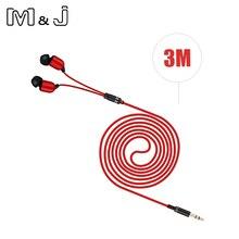 M & J 3M Kopfhörer Monitor Kopfhörer Mit Langen Draht 3,5mm Vergoldeten HiFi Stereo Universal Ohr Für iPhone 6S Xiaomi Computer