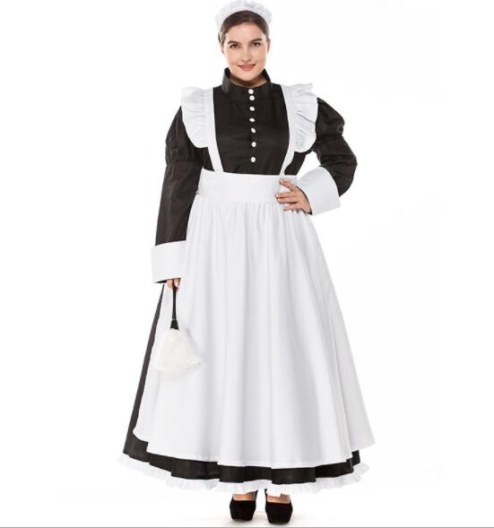 Plus Size Woman Classic Black White Apron Maid Sexy Dress Women Maidservant Costume Halloween Purim Cosplay Costume A062