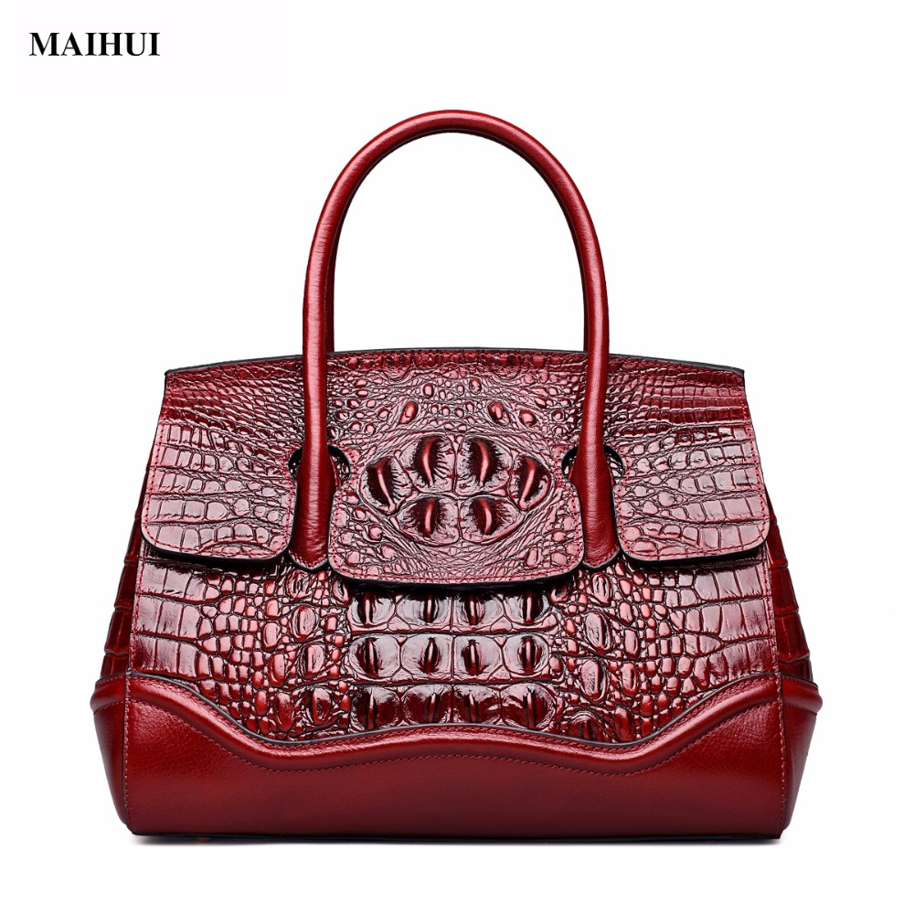 MAIHUI women leather handbags high quality shoulder bags 2017 new fashion crocodile grain real cowhide genuine leather tote bag