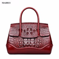 MAIHUI Women Leather Handbags High Quality Shoulder Bags 2017 New Fashion Crocodile Grain Real Cowhide Genuine