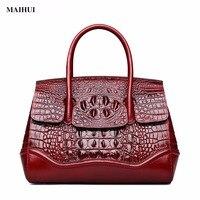 MAIHUI Women Leather Handbags High Quality Shoulder Bags 2017 New Fashion Crocodile Grain Real Cowhide Genuine