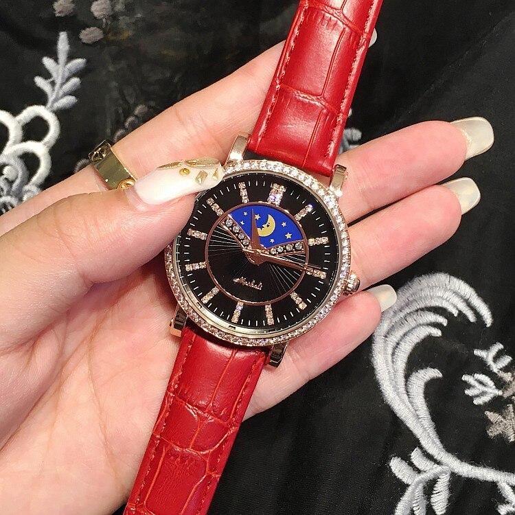 ФОТО New Luxury Brand Ladies Female Wristwatch Waterproof Moon Star Pattern Quartz Watch Rhinestone Watch Women Dress Clock OP001