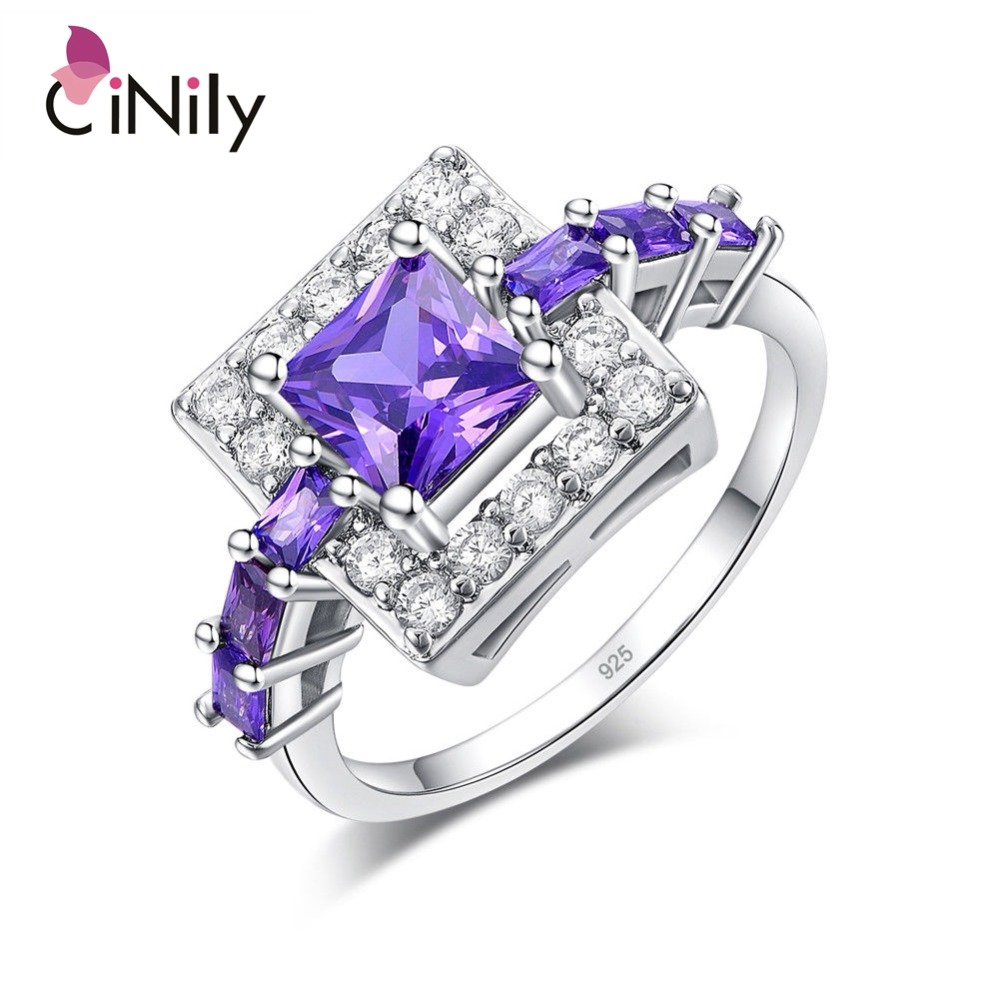 CiNily chapados en plata corte de la princesa de circón púrpura forma cuadrada para la venta al por mayor de la joyería de las mujeres regalo de compromiso anillo tamaño 6-10 NJ11056