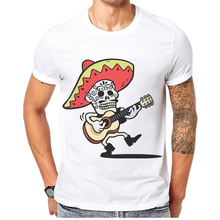 Rock and Roll Men T Shirt Fashion Funny Band Skull Print 100% Cotton Man T-shirt Casual Short Sleeve Mens Tops Tee