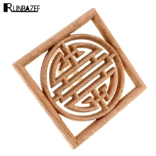 RUNBAZEF Home Decoration Accessories Furniture Wood Appliques Woodcarving Corner Decal Wooden Decor Wall Door Miniature Figurine
