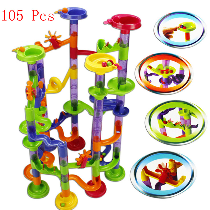 105PCS High Quality DIY Construction Marble Race Run Maze Balls Track Building Blocks Children Gift Baby Kid's Toy Educational peaks run 105