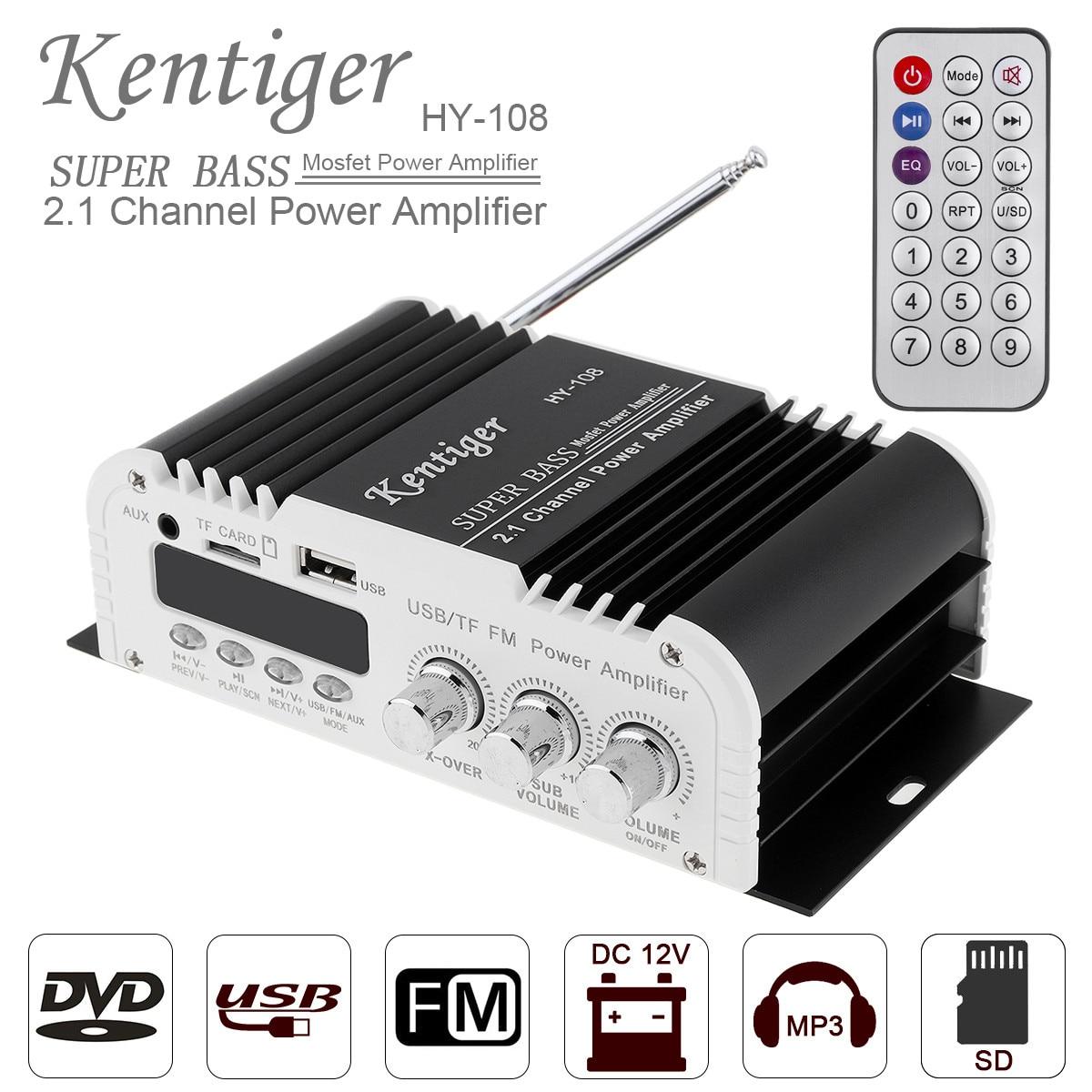 2.1CH HIFI Car Stereo Audio High Power Amplifier FM Radio Player Support SD USB