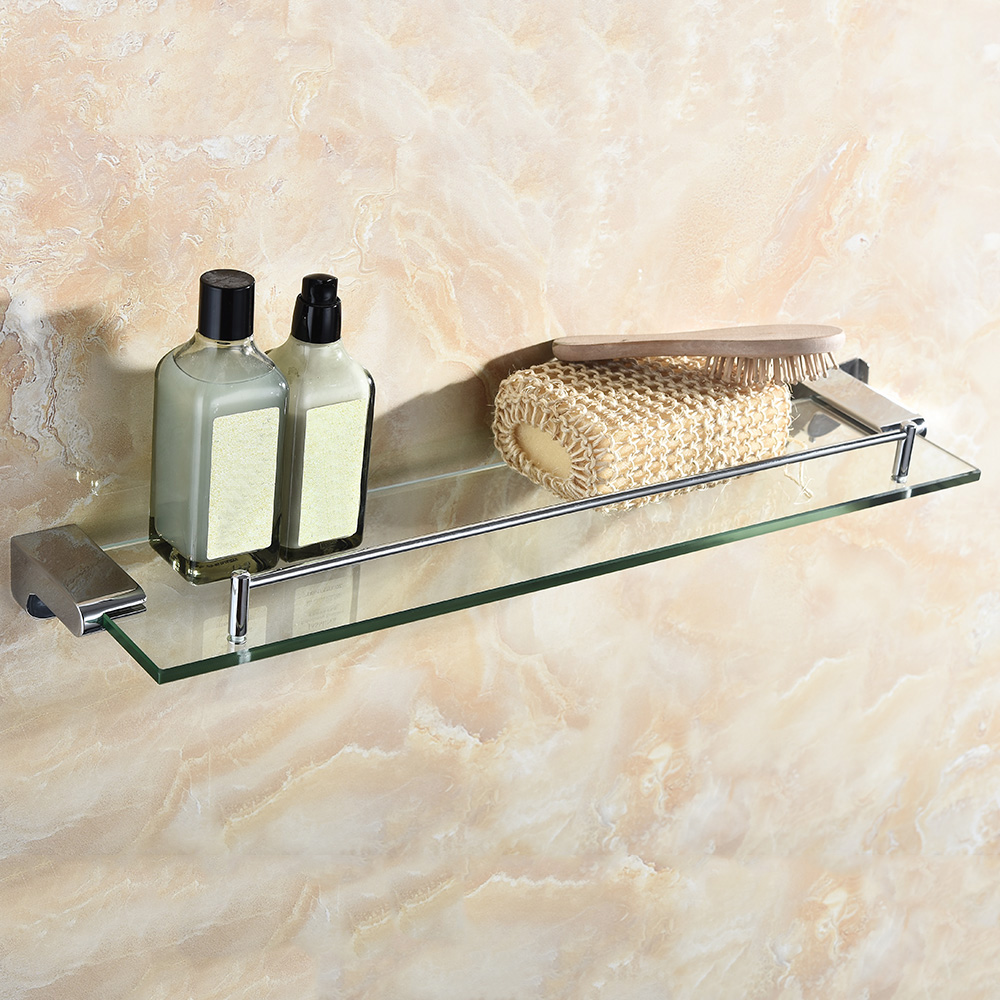 Homgeek Shelf Stainless Steel Thick Glass Bathroom Shelf Storage ...